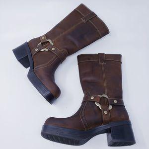 AEO Alamo Chunky Block Heel Boots Brown Size 7.5